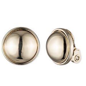Ralph Lauren Gold Round Sphere Clip-on Earrings